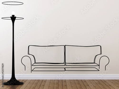 Contour of the sofa and floor lamp