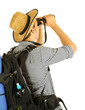 Young hiker man tourist with binocular, isolated on white