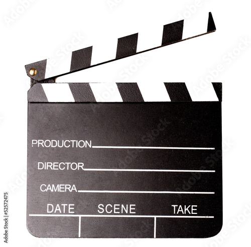 Isolated clapperboard, closeup shot