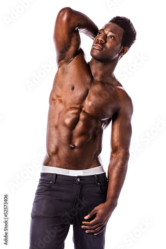 Strong black athletic young man