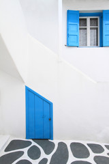 Detail from a typical traditional house in Mykonos, Greece