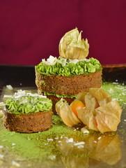 Gourmet cake with Japanese green tea Matcha