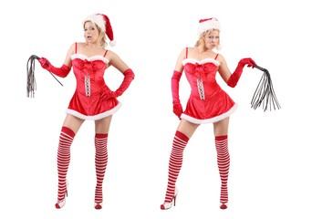 Weihnachtsfrau mit Peitsche (weisser Hintergrund)