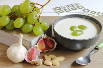 Ajoblanco is a white gazpacho, cold soup with garlic and almond