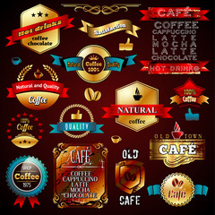 Vector Vintage Gold Commerce Stamps and Label Design Backgrounds
