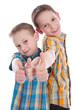 Kinder - Daumen hoch - isoliert - Brüder