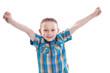 Hurra - junger Mann isoliert lachend freut sich