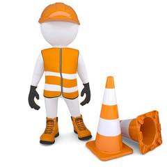 3d man in overalls beside traffic cones