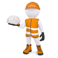 3d white man in overalls holding a brain