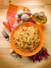 spaghetti with garlic oil and hot chili pepper