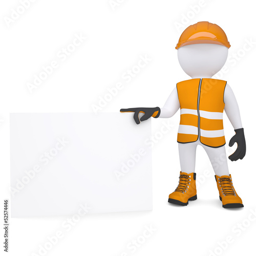3d man in overalls holding blank business card