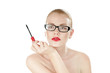 Sexual beauty woman in glasses with mascara brush in hand.