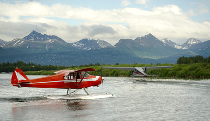 Seaplane Taxis Takeoff Lake Hood Ted Stevens National Airport
