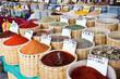 Piments et épices sur un marché, Tuquie