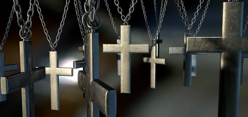 Hanging Crucifixes Close