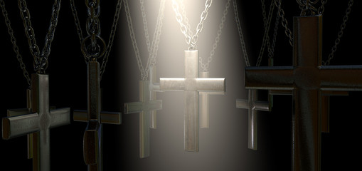Hanging Crucifix And Spotlight Salvation