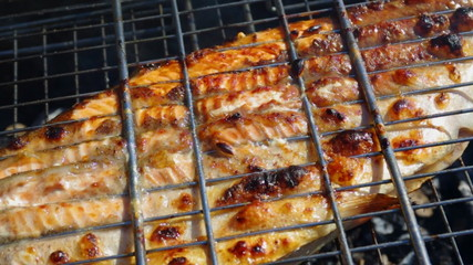 Fish trout on the grill. Summer barbecue concept. Close up with