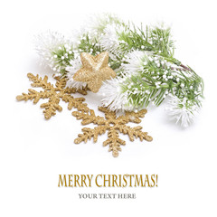 Christmas background with gold decoration