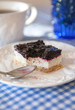 Delicious blueberry squares cake with whip cream