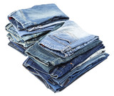 Isolated Jeans Stacks
