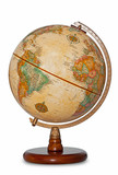 Antique world globe isolated clipping path.