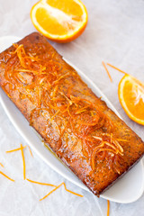 Orange cake with poppy seeds, top view
