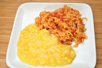 Spanish Rice with Creamed Corn
