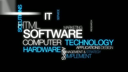 Software computer technology word tag cloud animation