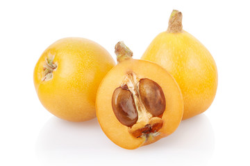 Loquat  fruits on white, clipping path included