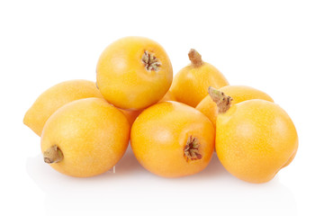 Loquat fruits group on white, clipping path