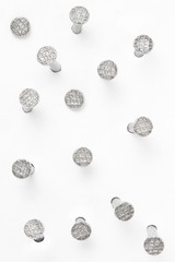 Metal nails collection on white, clipping path