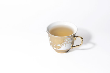 A cup of tea isolated on a white background
