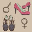 Vector male and female shoes and gender signs