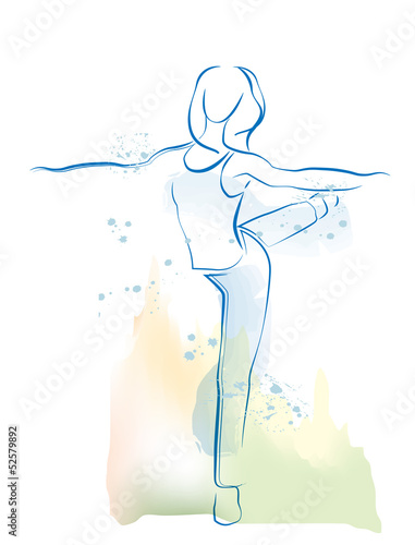 outline illustration of dancing girl