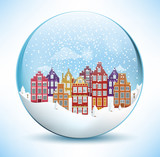 City in the glass sphere (Christmas scenery)
