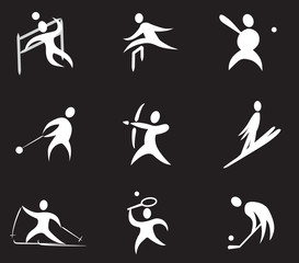 Summer and winter games icon set 3 - black & white