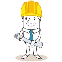 Geschäftsmann, Architekt, Bauplan