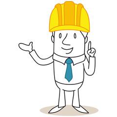 Geschäftsmann, Bauarbeiter, Schutzhelm, Zeigegeste