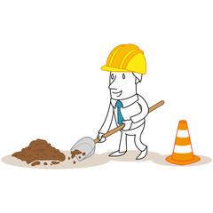 Geschäftsmann, Bauarbeiter, Baustelle, Schaufel