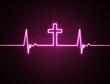 Obrazy na płótnie, fototapety, zdjęcia, fotoobrazy drukowane : Heart monitor with cross