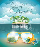 Vector Summer Holiday Flyer Design with Paradise Island