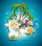 Fototapety Vector Summer Holiday Flyer Design with palm trees