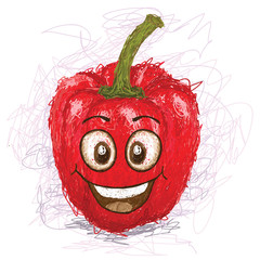 happy red bell pepper