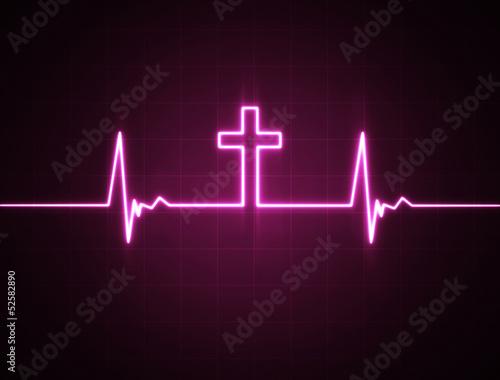 Leinwandbild Motiv Heart monitor with cross