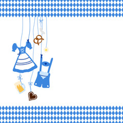 Octoberfest Symbols & Pattern Border Blue