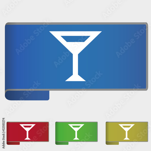 Vector illustration web bookmark - glass with drink