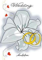 Einladung Karte Hochzeit mit Lilie