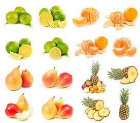 Set of pear, pineapple, mandarin and lime