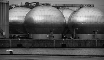 spherical, metal silos in the harbour