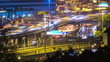 City Timelapse. Busy Road. Hong Kong at night.